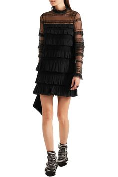 Shop on-sale Isabel Marant Trevor ruffled silk-georgette and lace turtleneck mini dress. Browse other discount designer Dresses & more on The Most Fashionable Fashion Outlet, THE OUTNET.COM