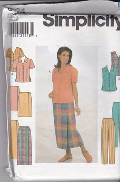 NEW and UNCUT Simplicity 8124 in sizes 14-16-18 for Misses wardrobe including Blouse, Skirt, and Pants by TreasuresFromGranny on Etsy