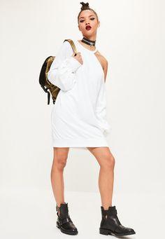 Missguided - White One Shoulder Balloon Sleeve Jumper Dress
