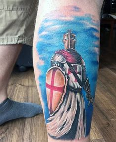 Male Knight In Battle Tattoo In Color