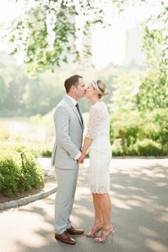 The gorgeous bride and groom: http://www.stylemepretty.com/2015/01/09/simple-chic-central-park-wedding/ | Photography: Brklyn View - http://www.brklynview.com/