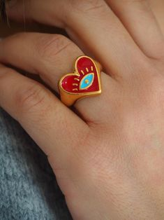 Christmas gift Gold red heart chunky ring Gold evil eye | Etsy Cute Jewelry, Jewelry Accessories, Jewlery, Funky Jewelry, Bijou Brigitte, Piercings, Ringe Gold, Evil Eye Ring, Greek Jewelry