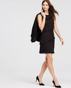 Image of Tweed Fringe Shift Dress