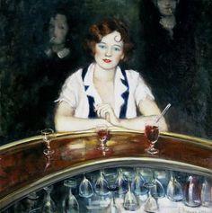 """Lusia Popenko: """"In a Ba""""r 100 x 90 sm, oil, canvas, 2003"""