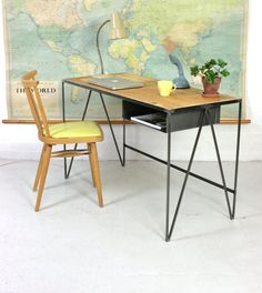 Image of Study desk with pine top