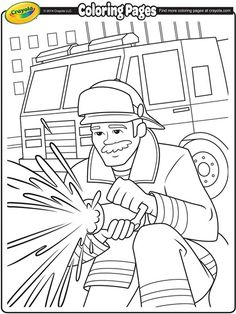 Firemen make such great idols. Encourage your kids to color in this great fireman and firetruck free coloring page.