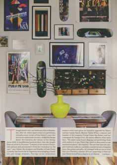 I like this grouping of artwork idea for above the desk & on the opposing wall above the bookshelves.: Peek Inside Lulu Frost Designer Lisa Salzer's Jewel Box Of An Apartment Small Living, Living Spaces, Living Room Lounge, Dining Room Inspiration, Home Comforts, Dining Room Design, Dining Rooms, Dream Decor, Frames On Wall