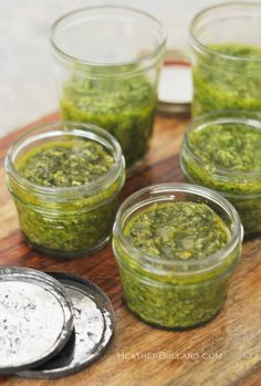 Pesto: 2 cups fresh packed basil leaves- 2 garlic cloves- 1/4 cup pine nuts- 2/3 cup olive oil- 1/2 cup grated cheese...makes 20 half pints. Process in blender.../