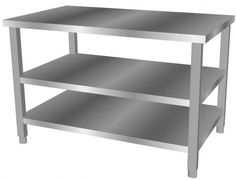 Stainless Steel Work Table With Two Shelves Worktops Tables And Cabinets Furniture
