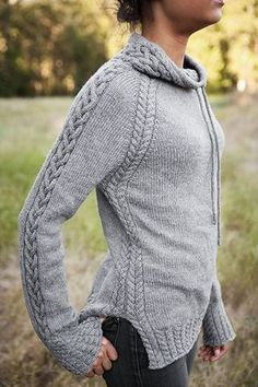 Harley Pullover Wow, love this look! This cabled, drawstring pullover is called Harley and is part of the Knit Picks Twist & Tweeds 2015 Fall Collection. Sweater Knitting Patterns, Knit Patterns, Knit Sweaters, Snood Pattern, Stitch Patterns, How To Purl Knit, New Shape, Knit Picks, Knit Or Crochet