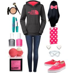 I love this outfit arrangement, but I would probably put my hair up with the bow