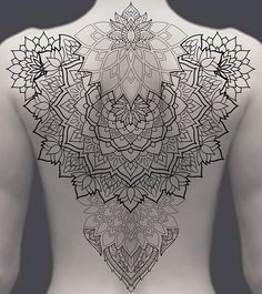 Search inspiration for a Geometric tattoo. Dotwork Tattoo Mandala, Backpiece Tattoo, Geometric Mandala Tattoo, Mandala Tattoo Design, Thigh Piece Tattoos, Back Tattoos, Body Art Tattoos, Girl Tattoos, Sleeve Tattoos