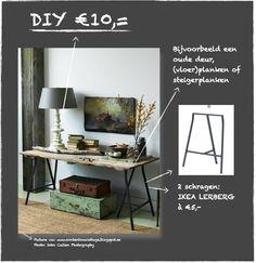 DIY SCHRAGENTAFEL € 10,00 - Esther Canisius | interieurontwerp #diy #schragentafel #steigerhout #paneeldeur #ikea #interieur #interieurontwerp #bijzettafel #tafel #table #sidetable