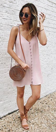 summer outfits Blush Silk Slip Dress + Brown Sandals + Brown Leather Shoulder Bag