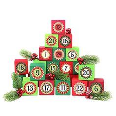 24 Adventskalender Kisten - zum selber befüllen - mit 24 Zahlenaufklebern - mit rot-grünen Kisten - von Papierdrachen Advent Calendar, Holiday Decor, Home Decor, Crates, Cardboard Paper, Red, Black, Decals, Random Stuff
