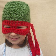 Teenage Mutant Ninja Turtle Hat, TMNT,  Children Costume Gift. $30.00, via Etsy.