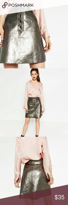 Zara leather skirt Metallic silver leather skirt, hits just at the knees. Great piece to add some shine to your fall wardrobe. Worn only. Couple times, like new! Size M Zara Skirts Mini