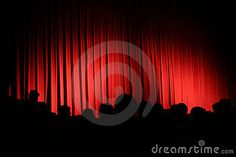 Red curtain with audience