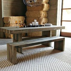 love this farm house wood dining table.  gather round!  emmerson dining.  west elm.