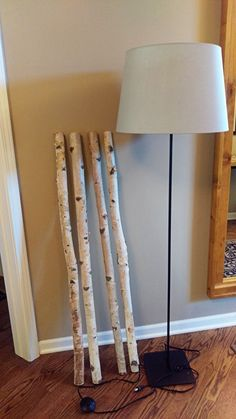Egna lampor Beautiful Birch Branch Floor Lamp - IKEA Hackers Outdoor Lighting Tips For Your Home The Floor Lamp Redo, Floor Lamp Makeover, Ikea Floor Lamp, Farmhouse Floor Lamps, Rustic Floor Lamps, Rustic Lamps, Birch Floors, Silver Floor Lamp, Tree Lamp