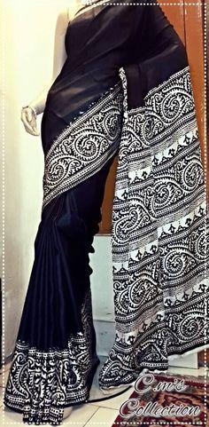 Block printed border on soft silk