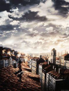 Mikasa Ackerman looking over the city... Gif. •Attack On Titan/Shingeki No Kyojin•
