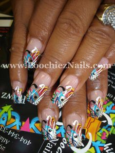 Poochiez Nails Nail Art (yep, I know, the name of this salon is ghetto :) but the nails are CUTE!)