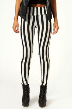 Boohoo Felicity Monochrome Stripe High Waist Leggings In Multi