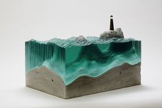 Artist Layers Glass Sheets Together To Form Ocean Waves