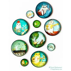 Music Magnets Animals Playing Music Illustrated Glass Fridge Magnets... ($7) ❤ liked on Polyvore featuring grey, home & living, kitchen & dining, kitchen décor and refrigerator magnets