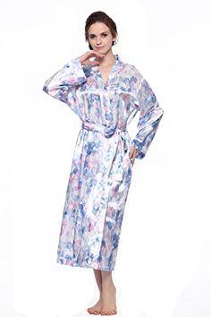 7fd726e3912 CYWH Women s Long Classic Satin Kimono Lounge Bathrobe Robe (XXL