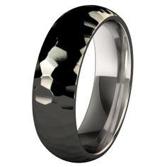 Crater Black Titanium Wedding Ring