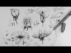 ▶ Pen & Ink Drawing Tutorial | How to draw flowers - YouTube