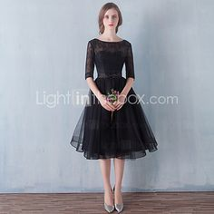 Cocktail Party / Prom Dress - Little Black Dress A-line Scoop Knee-length Tulle with Bow(s) / Lace 2017 - $71.99
