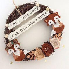 Personalised wedding gift - personalised wreath - wedding wreath - new baby gift - autumn decor - fox decor.
