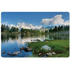 Landscape Pet Mats for Food and Water by Lunarable, Nature Landscape Forest and Lake in Italy Rural Mediterranean Countryside, Rectangle Non-Slip Rubber Mat for Dogs and Cats, Green White Blue *** Check out the image by visiting the link. (This is an affiliate link) #DogFeedingWateringSupplies
