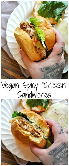 """Vegan Spicy """"Chicken"""" Sandwiches - Rabbit and Wolves can find Sandwiches and more on our website.Vegan Spicy """"Chicken"""" Sandwiches - Rabbit and Wolves Vegan Dinner Recipes, Vegan Recipes Easy, Veggie Recipes, Whole Food Recipes, Cooking Recipes, Beef Recipes, Vegan Ideas, Vegan Roast Dinner, Vegetarian Sandwich Recipes"""