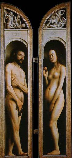 Retable de L'Agneau mystique (détail, Adan, Ève, Abel & Caïn), par Hubert & Jan Van Eyck