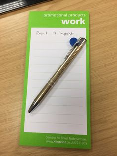 Our customer's Electra Class pen on her 4imprint notepad!