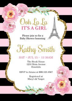 Bebé ducha invitación Torre Eiffel por StrawberryPartyPrint en Etsy