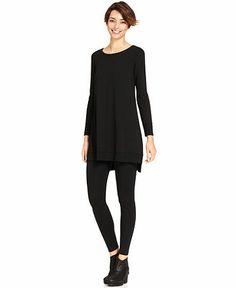 Long Tunics for Leggings | Eileen Fisher Long-Sleeve Ribbed High-Low Tunic & Ankle Leggings