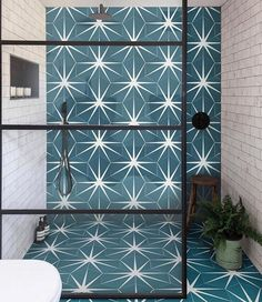 The much-loved Lily Pad tile is now available in a cheaper porcelain finish! Bathroom Inspiration, Interior Inspiration, Love Lily, Tadelakt, Hexagon Tiles, Teal Tiles, Hex Tile, Geometric Tiles, Cement Tiles