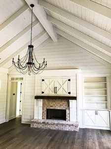 Plan Country Craftsman with Vaulted Interior and French Door Foyer White shiplap Vaulted Ceiling, black chandelier, old Chicago Brick on fireplace Shiplap Ceiling, Ceiling Beams, Vaulted Ceilings, Living Room Vaulted Ceiling, Ceiling Color, Ceiling Panels, Wood Ceilings, Ceiling Design, Modern Farmhouse Interiors