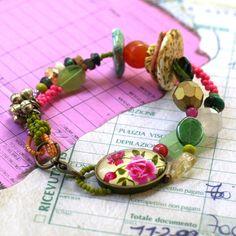 Pink Roses Shabby Chic Beaded Bracelet, Multi Strand Colorful Boho Chic Jewelry
