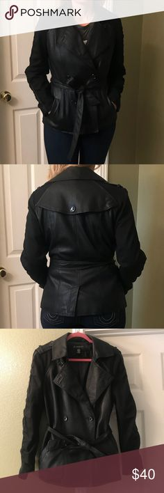 """INC Faux Leather Mixed Media Black Jacket sz L Excellent condition  Mixed media - faux leather body and fabric sleeves  Size L  CHEST 39""""  LENGTH 25""""  BLACK COLOR INC International Concepts Jackets & Coats Blazers"""