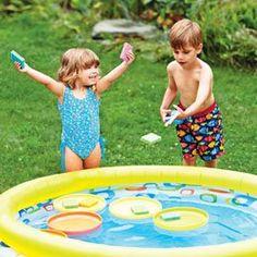 Water Works Activity- fun summer ways to get SPD kids into the kiddie pool.