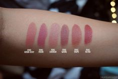 MAC Nude lipstick on tan skin swatch comparison Kiinda Sexy Mehr Cherish Taupe Whirl Retro Lipstick For Dark Skin, Lipstick Swatches, Nude Lipstick, Matte Lips, Liquid Lipstick, Mac Lipsticks, Matte Lip Color, Lip Colors