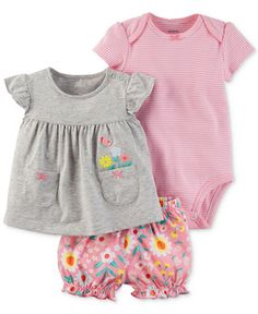 Carter's 3-Pc. Cotton Embroidered Top, Striped Bodysuit & Diaper Cover Set, Baby Girls (0-24 months)