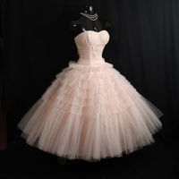 Vintage 1950's 50s Bombshell STRAPLESS Pink Tiered Layered Circle Skirt Party Prom Wedding DRESS Gown Formal