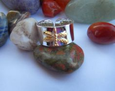 925 Sterling Silver Thick  Everyday Gold Dichroic Dragonfly adjustable ring